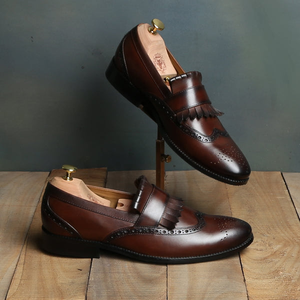 Dark Brown Leather Wingtip Fringes Formal Slip-On by BRUNE