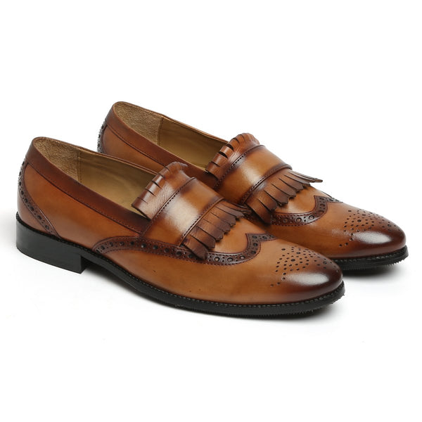 Tan Leather Wingtip Fringes Formal Slip-On by BRUNE