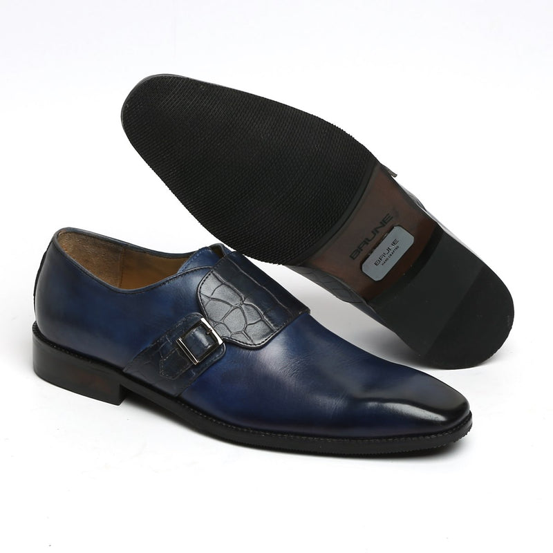 Blue Croco Strap Single Monk Leather Shoes by BRUNE