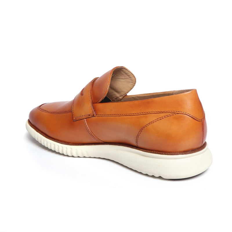 Tan Leather Penny Sneakers By BARESKIN