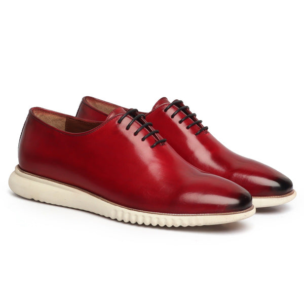 Wine One Piece Leather Sneakers By Bareskin