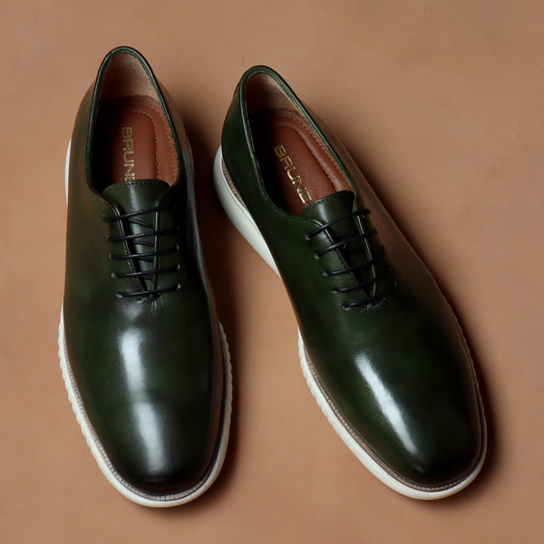 Green One Piece Leather Sneakers With Contrasting Sole By Bareskin