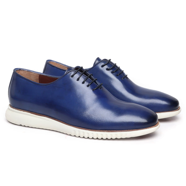 Blue One Piece Leather Sneakers With Contrasting Sole By Bareskin