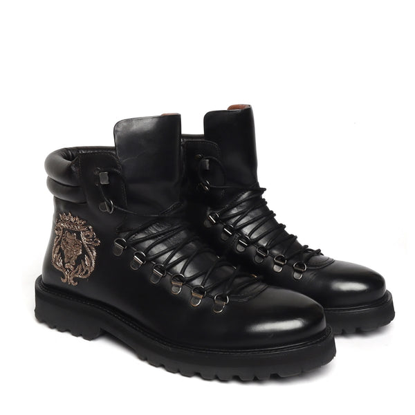 Black Biker Lion Zardosi Boot For Men By Bareskin