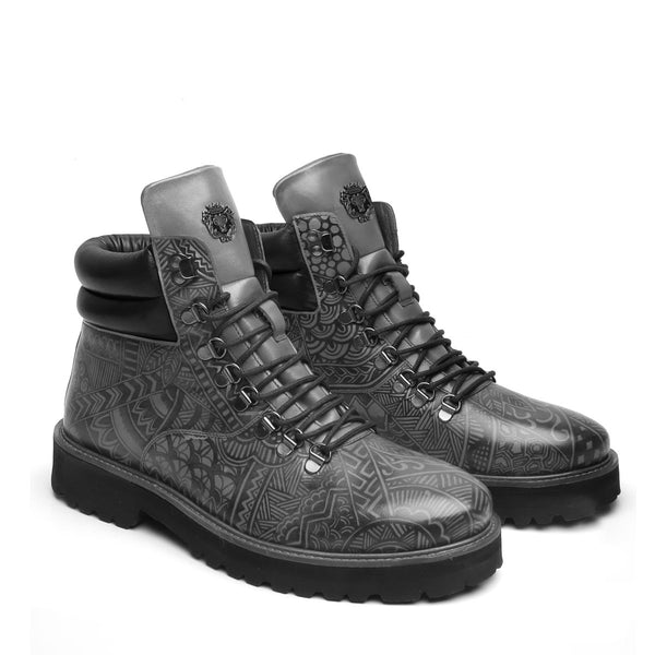 Hand Painted Doodle Art Grey Leather Light Weight Biker Boot for Men by BARESKIN (512 gm)