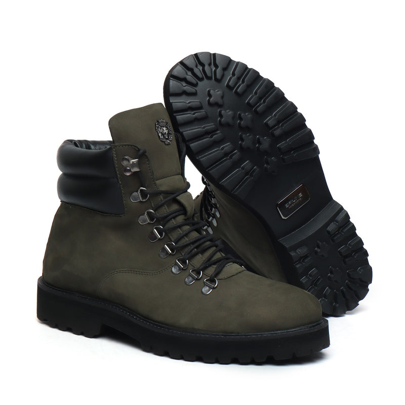 Nubuck Olive Green Leather Light Weight Biker Boot for Men by BARESKIN (512 gm)