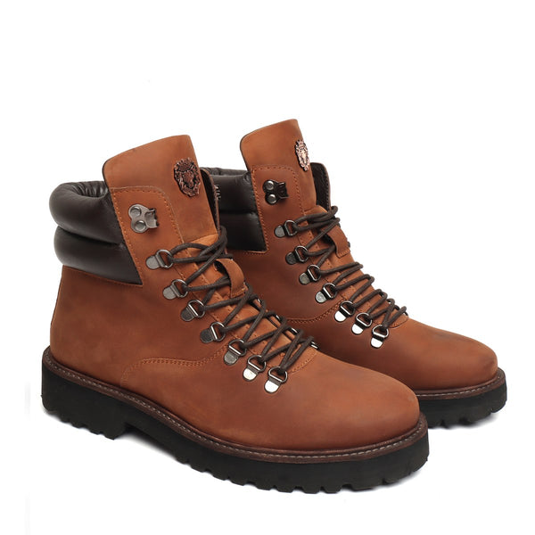 Nubuck Cognac Leather Light Weight Biker Boot for Men by BARESKIN (512 gm)