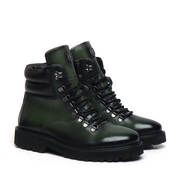 Green Biker With Metal Lion Leather Boot For Men By Bareskin