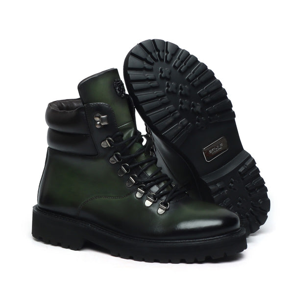 Green Leather Side Zip Light Weight Biker Boots By Bareskin
