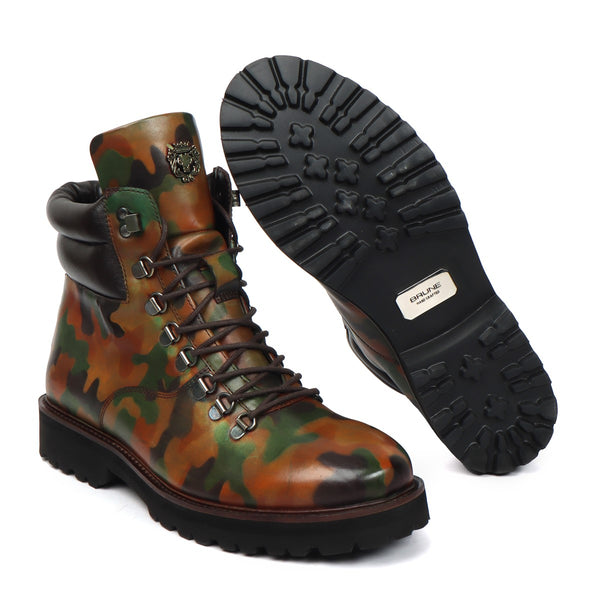 Hand Colored Camo Tan Leather Light Weight Biker Boot for Men by BARESKIN (512 gm)