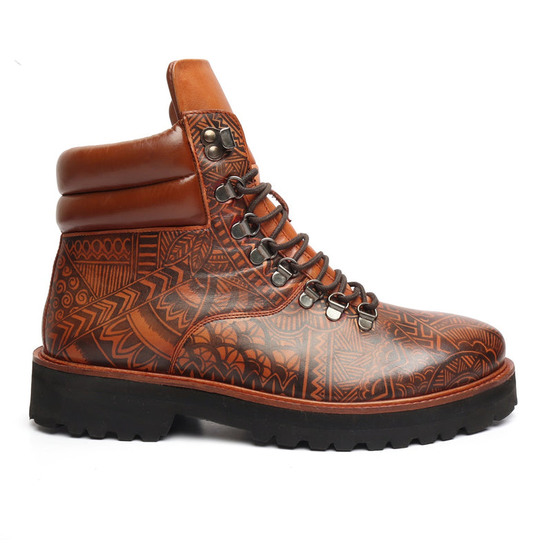 Hand Painted Doodle Art Tan Leather Light Weight Biker Boot for Men by BARESKIN (512 gm)