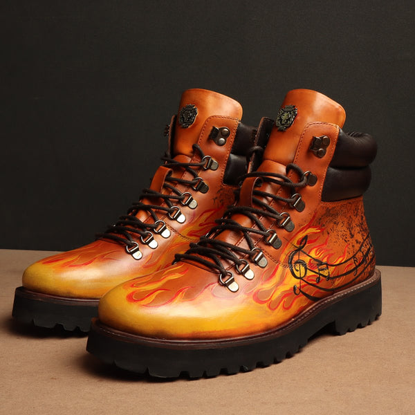 Hand Painted Fire and Music Art Tan Leather Light Weight Biker Boot for Men by BARESKIN (512 gm)