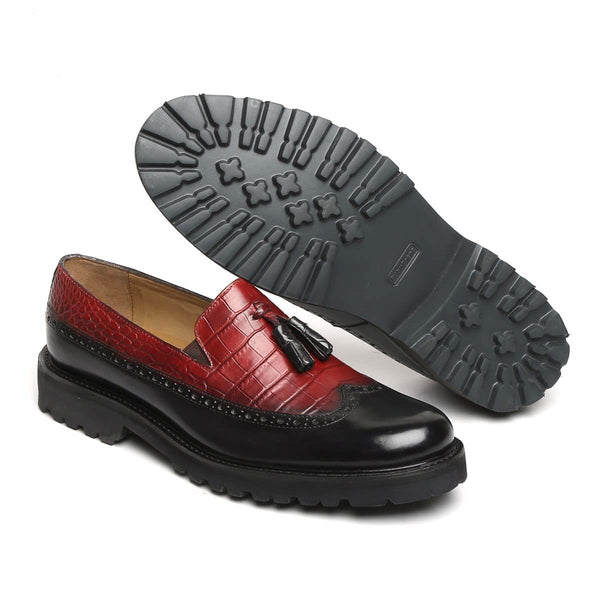 Wine & Black Croco Print Leather Light Weight Tassel Slip-Ons By Brune