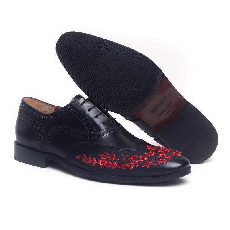 Red Zardosi Wingtip Black Leather Formal Shoes by BRUNE