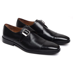 Black Leather Monk Strap Derby Cap Toe Shoes by BRUNE