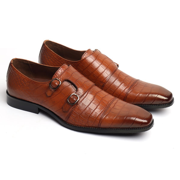 New Sleek Look Tan Croco Print Leather Double Monk Slip-On by BRUNE