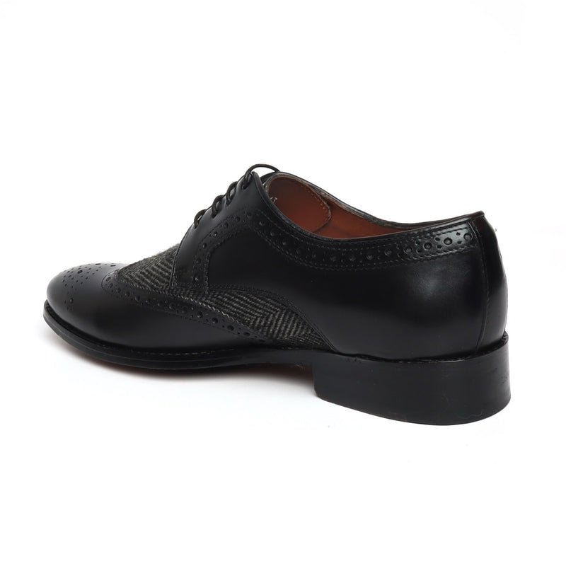 Black Leather Genuine Leather Men Derby Shoe by BRUNE