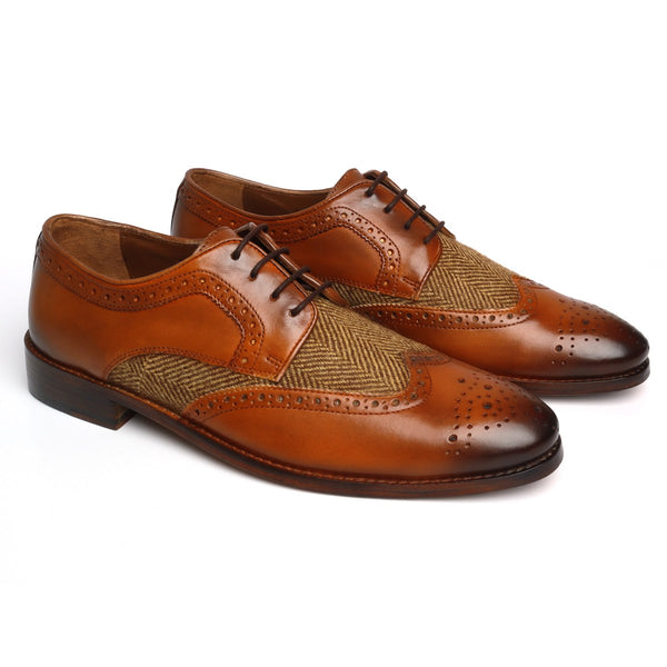 Tan Leather Genuine Leather Men Derby Shoe by BRUNE