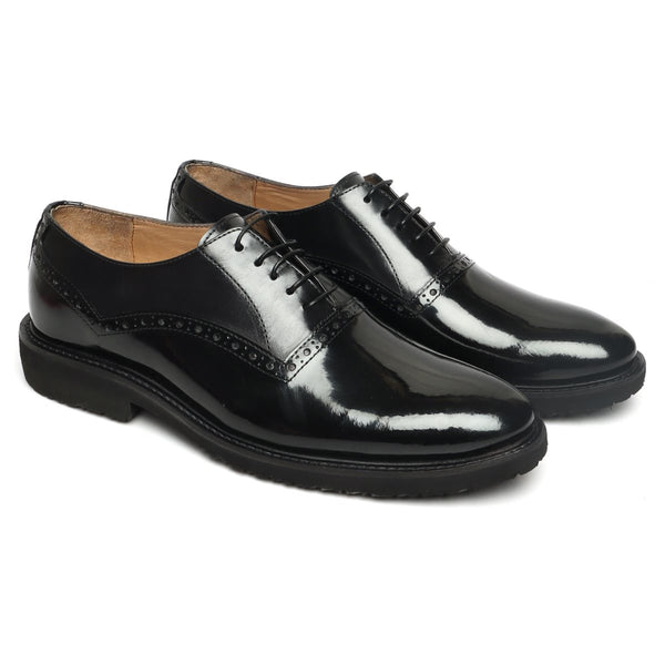 Black Leather LACE-UP formal shoe in light weight