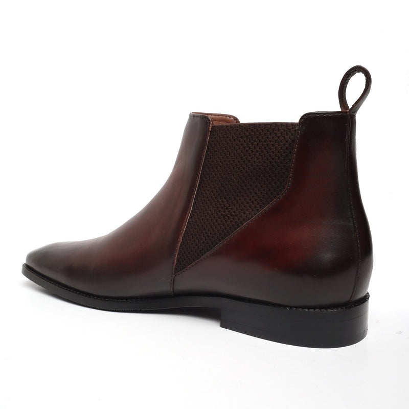 New shape Brown Leather Chelsea Boot by Brune with a Stylish Sharp Elastic Design