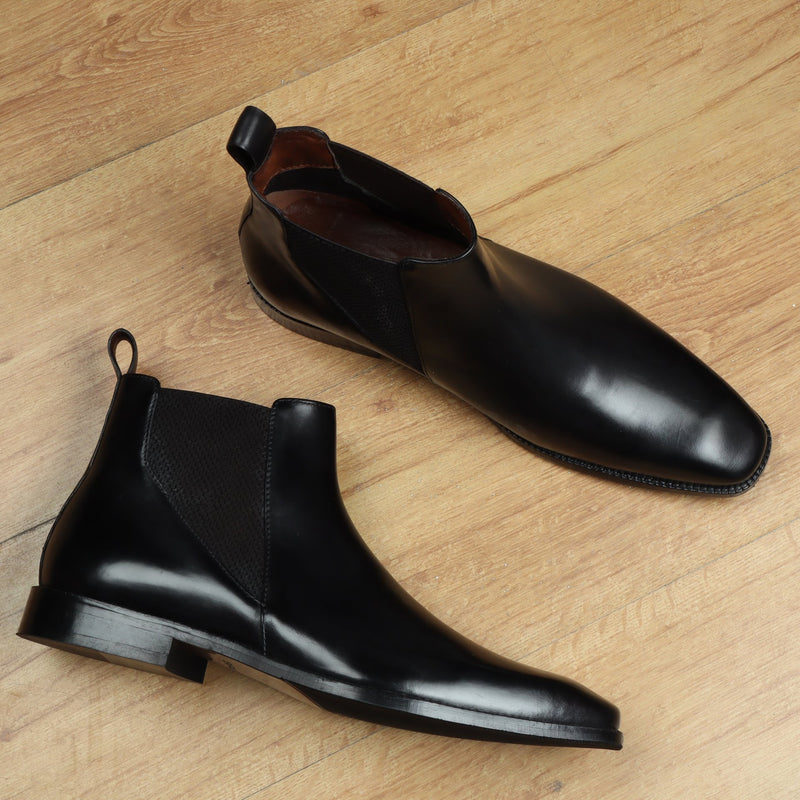 New shape Black Leather Chelsea Boot by Brune with a Stylish Sharp Elastic Design