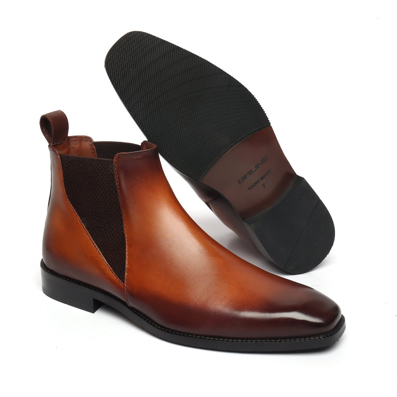 New shape Tan Leather Chelsea Boot by Brune with a Stylish Sharp Elastic Design