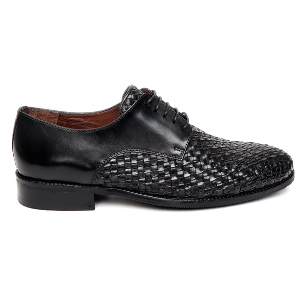 Brune Black Hand weaved front lace up formal shoe