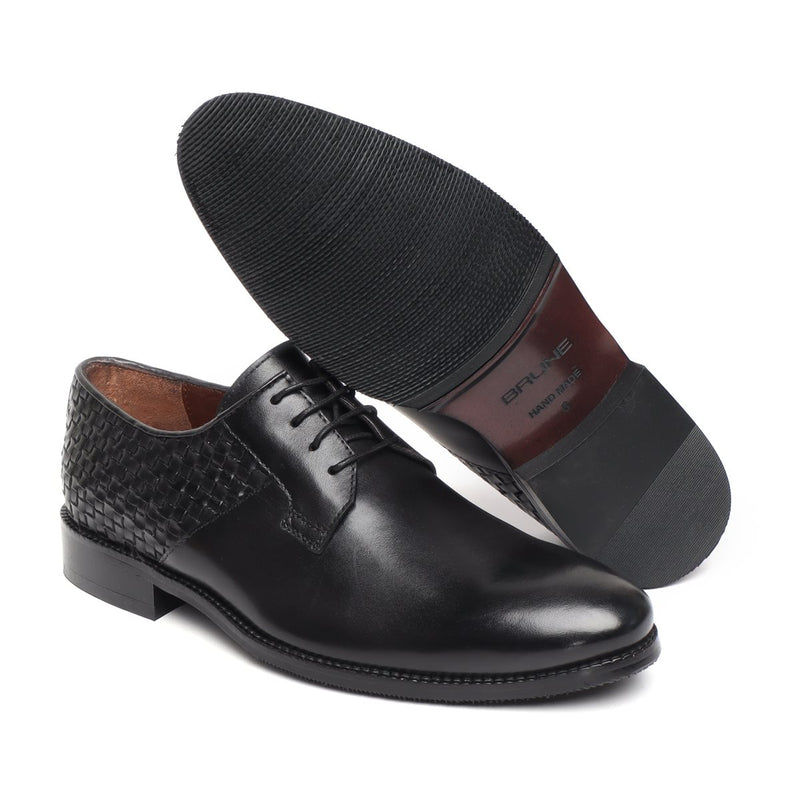 Brune Black Hand weaved Back of lace up formal shoe