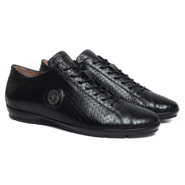 Black Snake Skin Textured Genuine Leather Light Weight Sneakers by Bareskin