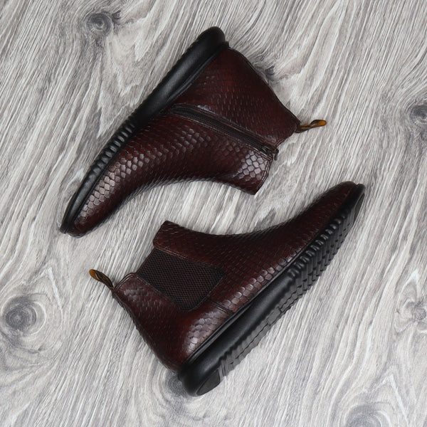 Brown Snake Skin Textured With Side Zipper Closure Leather Chelsea Boot By Brune & Bareskin