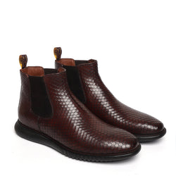 Brown Snake Skin Textured Leather Chelsea Boot with Hand scaling and  Light weight sole