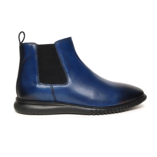 Blue Leather Light Weight Chelsea Boot by Brune & Bareskin