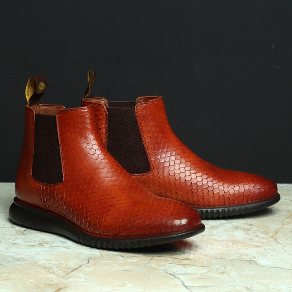 Tan Snake Skin Textured Leather Chelsea Boot with Hand scaling and  Light weight sole