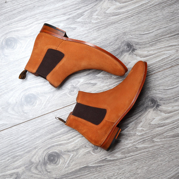 Orange Suede Leather Chelsea Boots with Leather Sole by Brune & Bareskin