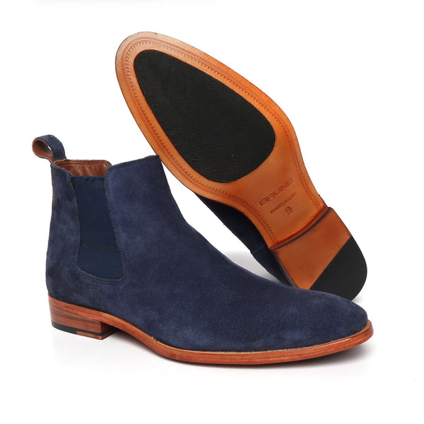 Blue Suede Leather Chelsea Boots with Leather sole.