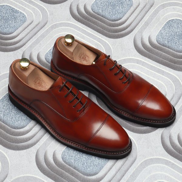 Coganac Cap Toe Sleek Look Lightweight Leather Shoes By Brune