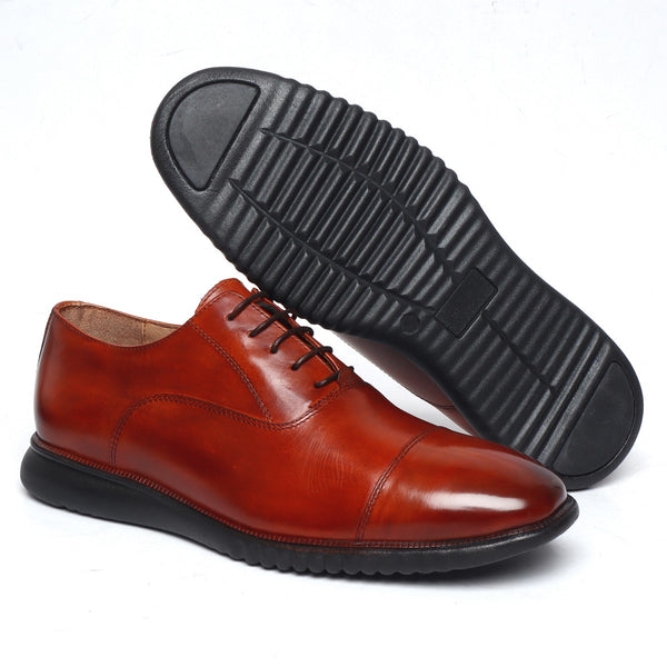 Cognac Leather Cap Toe Oxfords by Brune