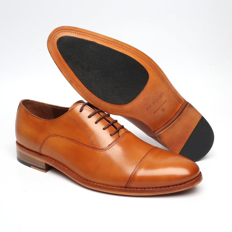 Orange Tan Cap Toe Sleek Look Leather Shoes with Leather Sole By Brune