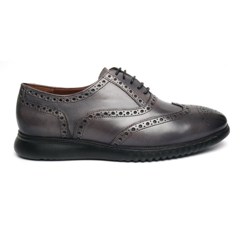 BRUNE Light Weight Collection Grey Leather Brogue Shoe with Flat Cushioned Sole