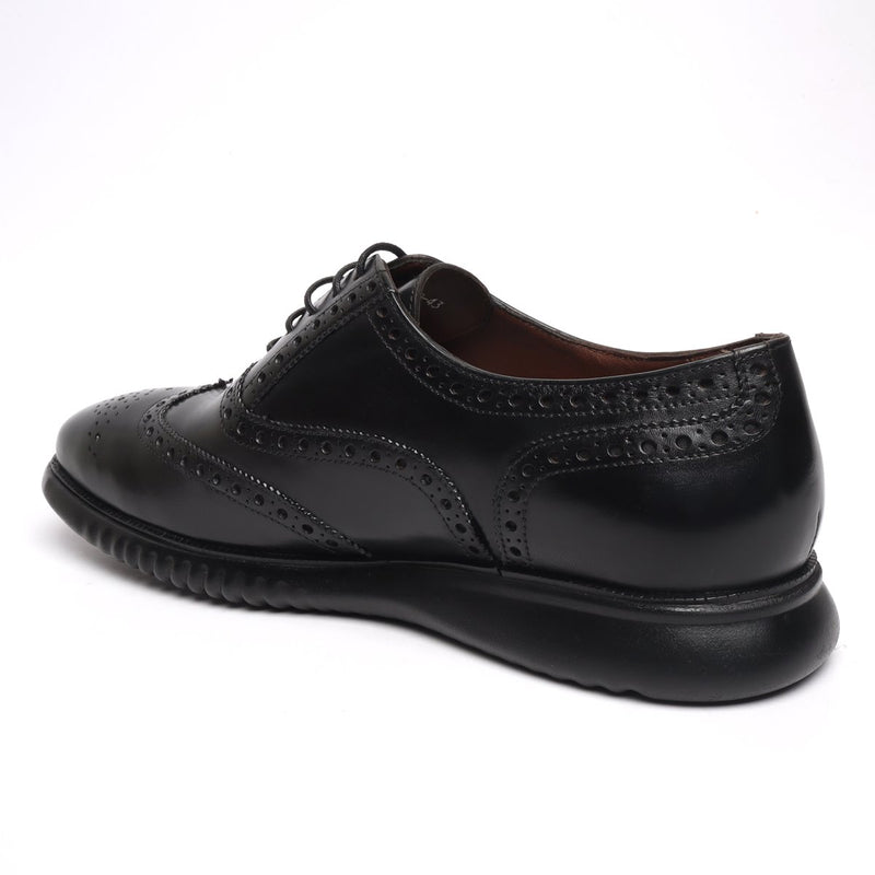 BRUNE Light Weight Collection Black Leather Brogue Shoe with Flat Cushioned Sole