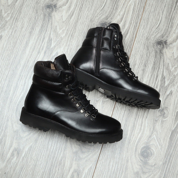 Black Leather Side Zip Light Weight Biker Boots By Bareskin