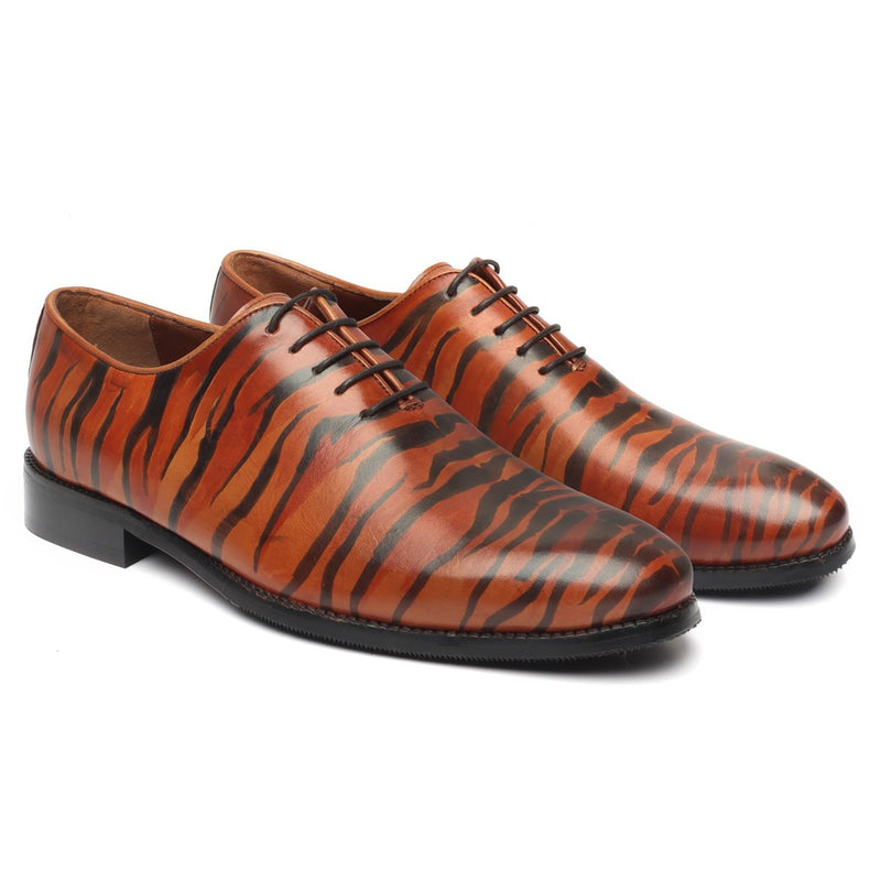 Hand Painted Tribal Tiger Styled Single Piece Tan Leather Oxfords Shoes by BRUNE