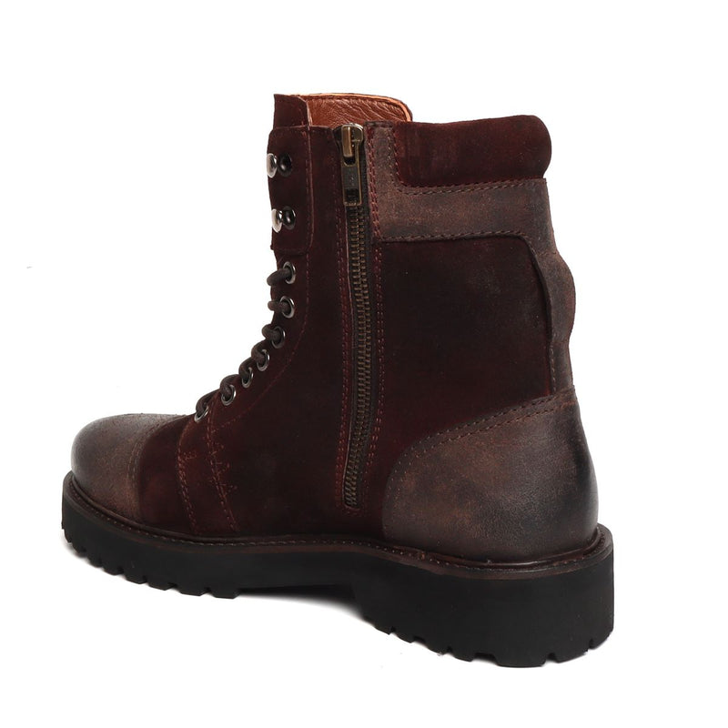 Dark Brown Suede Leather Toe and Heal Cap High Neck Biker Boots by BARESKIN