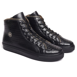 Black Snake Textured Leather Zip Embellished Sneakers by BARESKIN