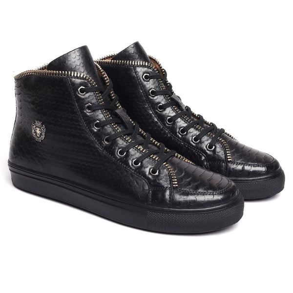 Black Leather Snake Textured Zip Embellished Sneakers by BARESKIN