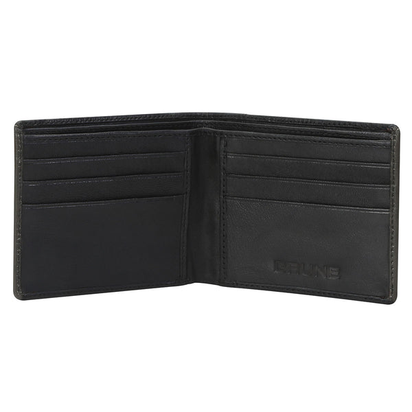 Black With Grey Color Combination Leather Wallet For Men By Brune