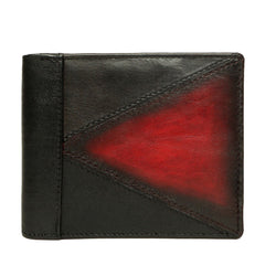 Black With Dk. Red Color Combination Leather Wallet For Men By Brune