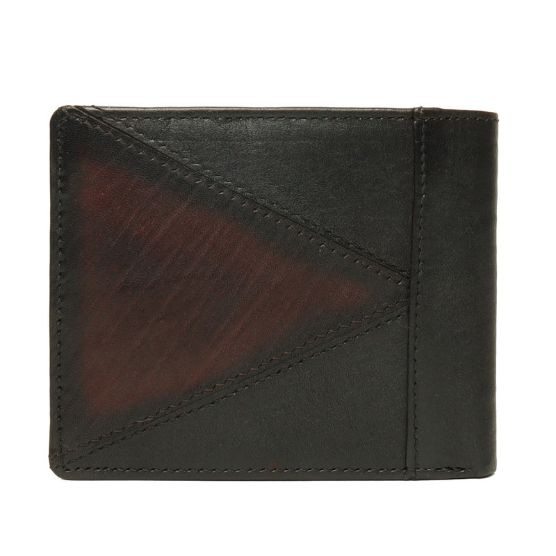 Black With Brown Color Combination Leather Wallet For Men By Brune