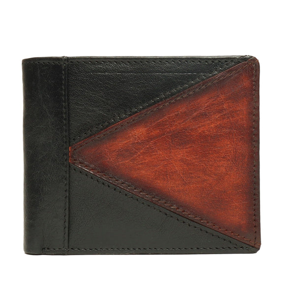 Black With Yellow-Tan Color Combination Leather Wallet For Men By Brune