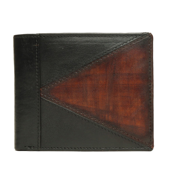 Black With Dark Tan Color Combination Leather Wallet For Men By Brune